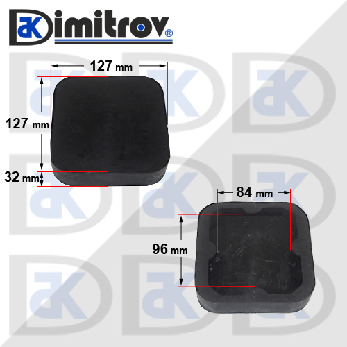 Гумен тампон за подемник с пета 110 x 110 mm
