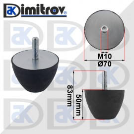 Буферен тампон M10 Ø 70 х 50 mm