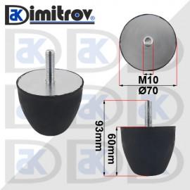 Буферен тампон M10 Ø 70 х 60 mm