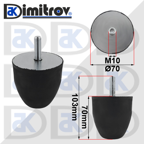 Буферен тампон M10 Ø 70 х 70 mm