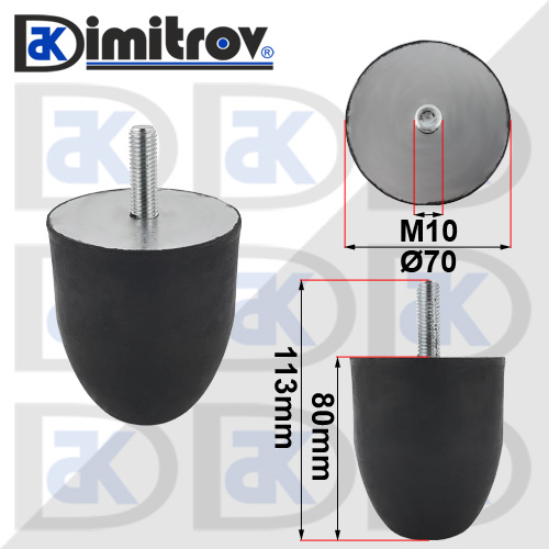 Буферен тампон M10 Ø 70 х 80 mm