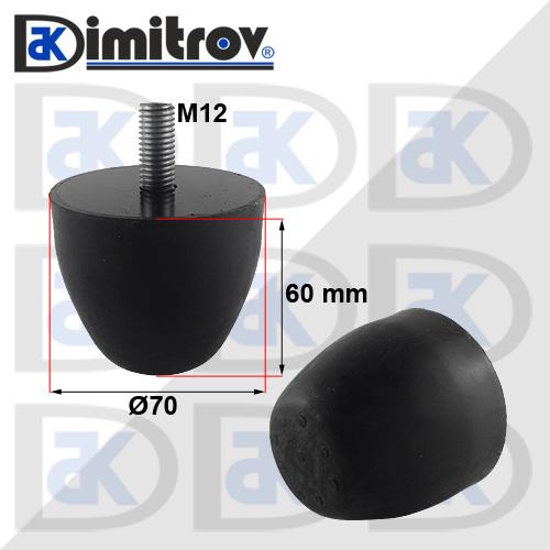 Буферен тампон M12 Ø 70 х 60 mm
