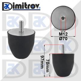 Буферен тампон M12 Ø 70 х 70 mm