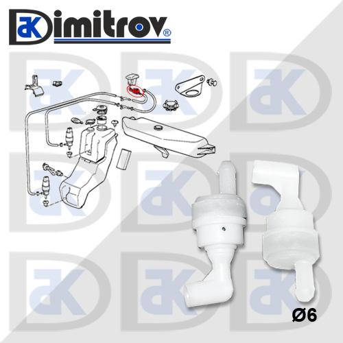 Клапан възвратен течност чистачки Ø6 mm BMW 3 5 7 Z3