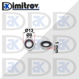 Дифтунга Ø8 х Ø13 х 1 mm гумирана