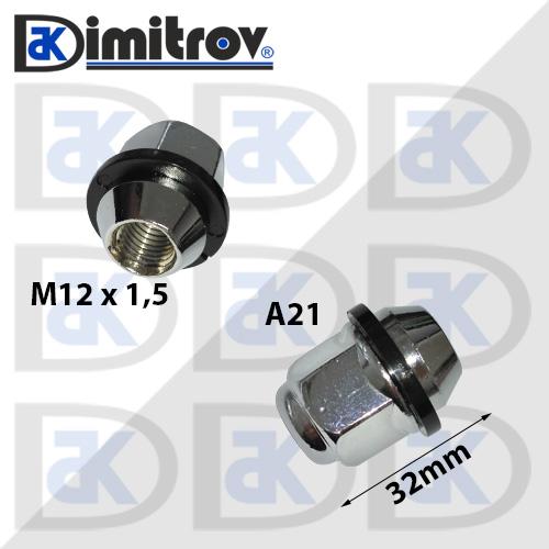 Гайка джанта М12х1,5 А21 32 mm