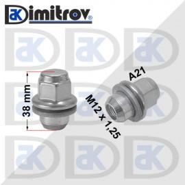 Гайка джанта М12х1,25 А21 38 / 38 mm Infiniti Q40 Q50 Q60 Q70 QX50 QX70 EX37 FX50 G37 M35h M37 M56 EX35 G25 FX35 G35