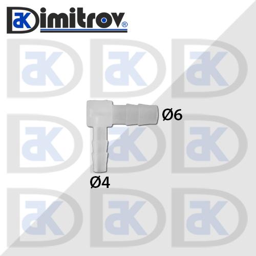 Коляно маркуч Ø 4 x Ø 6 мм