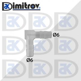 Коляно маркуч Ø 6 x Ø 6 мм