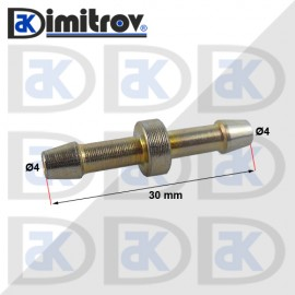 Права свръзка за маркуч Ø4 x Ø4 x 30 mm - Стомана