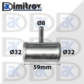 Тройник маркуч Ø  8 - Ø 32 - Ø 32 мм - метален