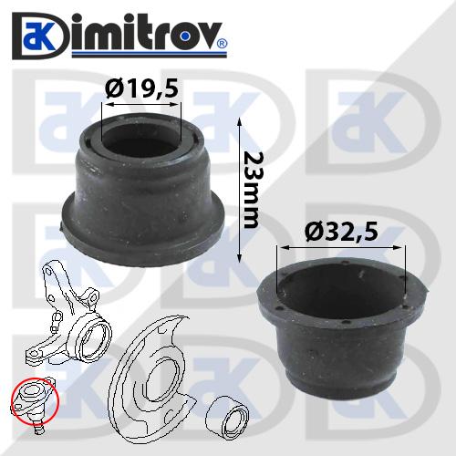 Маншон гумено-метален Ø19,5 х Ø32,5 х 23 мм