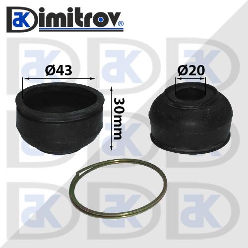 Маншон гумено-метален Ø20 х Ø43 х 30 мм