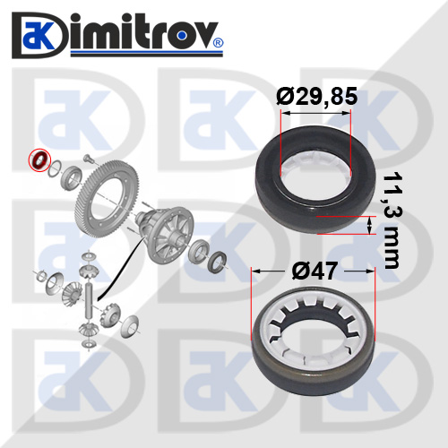 Семеринг диференциал Ø29,85 х Ø47 х 11,3 mm Peugeot 106 205 206 306 307 406 508 605 Bipper Expert Partner RCZ