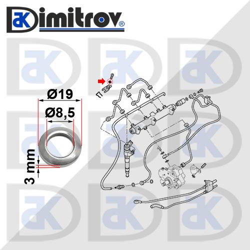 Подложна шайба дюза Citroen Jumper Fiat Ducato Peugeot Boxer
