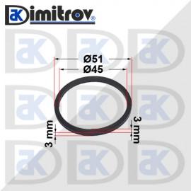 Семеринг правоъгълно сечение Ø45 x Ø51 x 3 / 3 mm