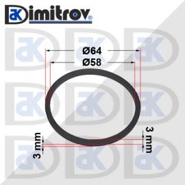 Семеринг правоъгълно сечение Ø58 x Ø64 x 3 / 3 mm
