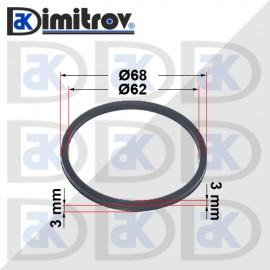Семеринг правоъгълно сечение Ø62 x Ø68 x 3 / 3 mm