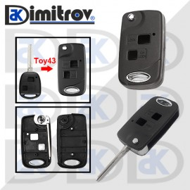 Кутийка ключ 2 бутона TOY43 Toyota Avalon Camry Corolla Echo Land Cruiser Prado Rav4 Tarago Land Cruiser Yaris
